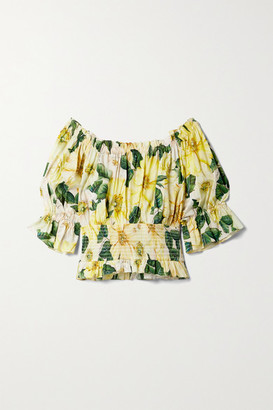 Dolce & Gabbana Off-the-shoulder Ruffled Floral-print Cotton-poplin Blouse - Yellow
