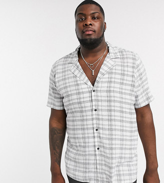 Asos DESIGN Plus regular fit shirt with deep revere in white scribble check