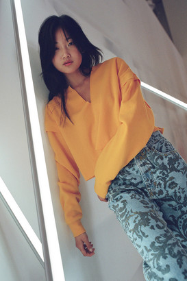 Urban Outfitters Clay Notch Neck Cropped Sweatshirt