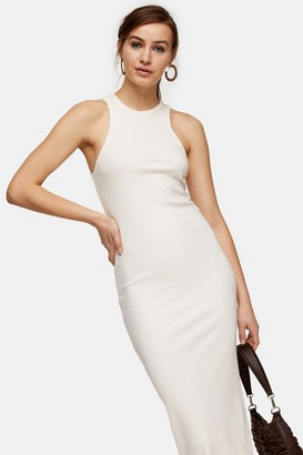 Topshop Ecru Racer Bodycon Dress