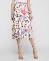 Express Satin Floral Midi Slip Skirt