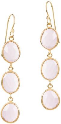 Amadeus Sophia Triple Pink Quartz Dangle Earrings