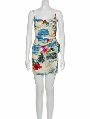Reformation Printed Mini Dress Blue
