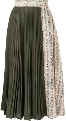 J.W.Anderson Contrast-Panel Pleated Midi-Skirt