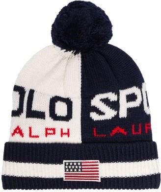 Polo Ralph Lauren Blue And White Logo Pom Pom-Embellished Beanie Hat