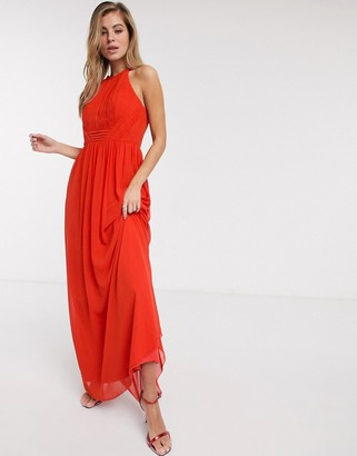 Little Mistress pleat chiffon maxi dress in tangerine