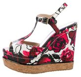 Jimmy Choo Floral T-Strap Wedge Sandals
