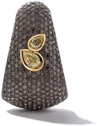As 29 18kt Black And Yellow Gold Bombee Brown Diamond Pear Shaped Yellow Diamond Single Earring