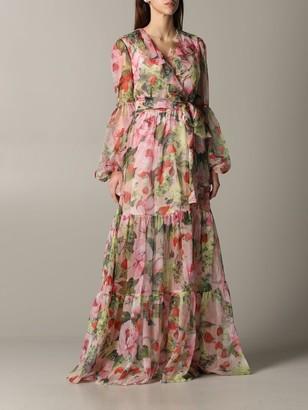 Blumarine Long Dress In Floral Patterned Chiffon