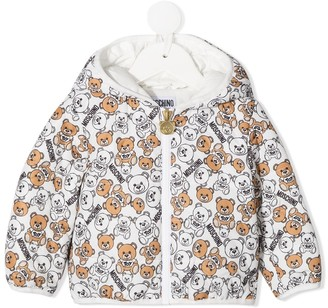MOSCHINO BAMBINO All-Over Teddy Print Padded Jacket