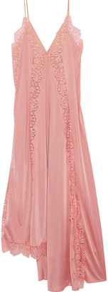 Stella McCartney Angie Lace-trimmed Charmeuse Maxi Slip Dress