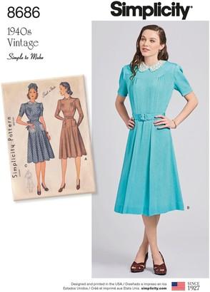 Simplicity 1940s Vintage Dresses Dressmaking Leaflet, 8686