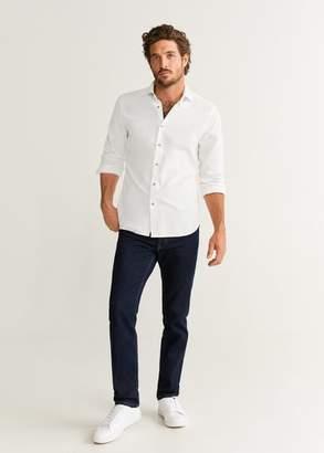 MANGO MAN - Slim fit corduroy cotton shirt white - XS - Men