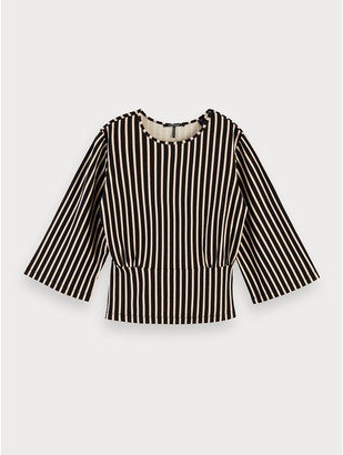 Maison Scotch Striped Waist Detail Top - Size XS