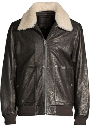 Andrew Marc Cuthbert Shearling-Trimmed Leather Jacket