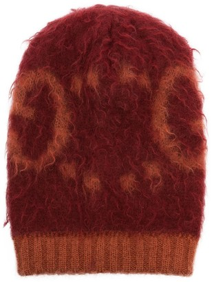 Gucci Orange fluffy logo beanie hat