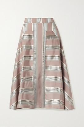 Palmer Harding palmer//harding - Manon Striped Satin Midi Skirt - Antique rose
