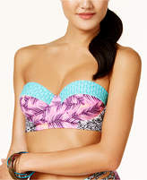 Hula Honey Juniors' Leaf Breeze Printed Underwire Push-Up Midkini Top, Created for Macy's Women's Swimsuit