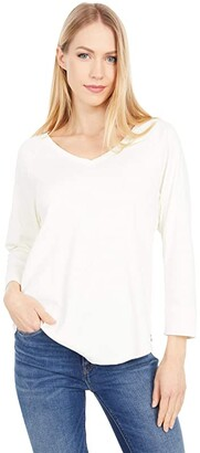 Lilla P Modern Classics 3/4 Sleeve V-Neck Tee (Black) Women's Clothing
