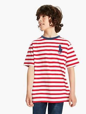Ralph Lauren Polo Boys' Stripe T-Shirt, Red