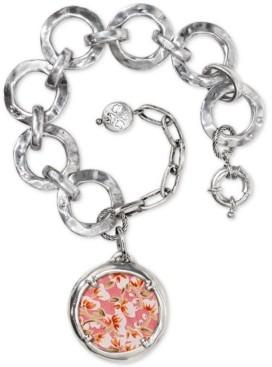 Patricia Nash Silver-Tone Hammered Link & Rose-Print Leather Inset Charm Bracelet