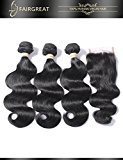 Fairgreat Hair Brazilian Virgin Remy Hair Body Wave Hair 3 Bundles With 44 Lace Closure Human Hair Extensions (26 26 26 with 20 inch Free Part Lace Closure)