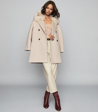Reiss Lawson - Faux Fur Shawl Collar Coat in Oatmeal