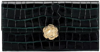 Oscar de la Renta Green Croc-embossed Continental Wallet