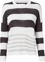 Brochu Walker Zander Oyster-Stripe Pullover Sweater