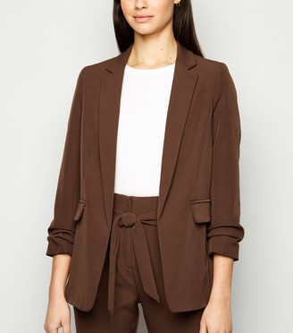 New Look Bright Ruched Sleeve Long Blazer