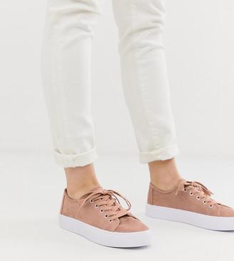ASOS DESIGN Dusty lace up sneakers in warm beige