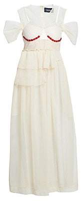 Simone Rocha Women's Beaded Bra Insert Tulle Midi Dress
