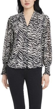 Vince Camuto Women's Smocked Cuff Animal Impressions Blouse
