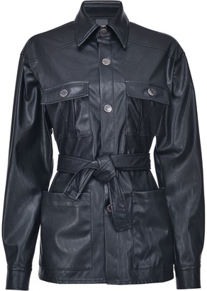 Pinko Faux Leather Belted Jacket