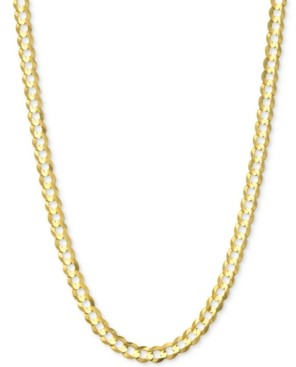 """Italian Gold 24"""" Open Curb Link Chain Necklace (3-3/5mm) in Solid 14k Gold"""