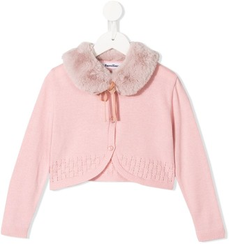 Familiar fur collar cardigan