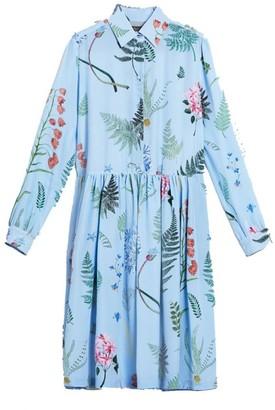 Max Mara Weekend Light Blue Acerbi Silk Printed Dress - 38