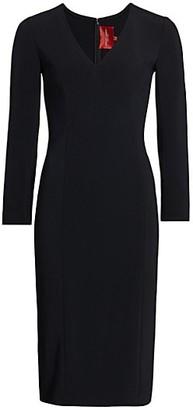 Carolina Herrera Icon V-Neck Crepe Sheath Dress