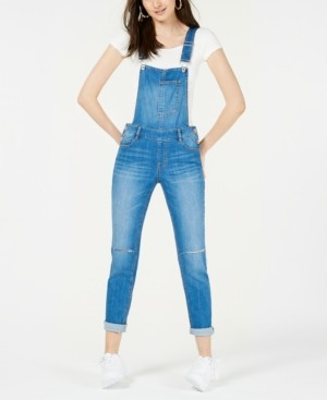 Dollhouse Juniors' Skinny Denim Overalls, Created for Macy's