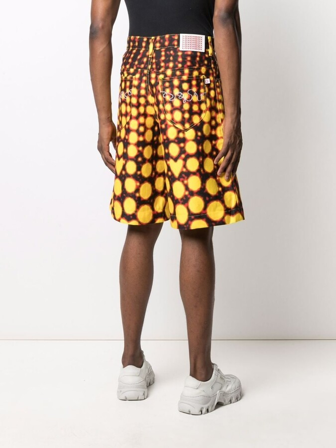 Thumbnail for your product : Charles Jeffrey Loverboy Abstract Print Wide-Leg Shorts