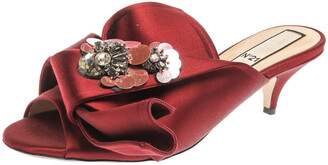 N°21 N21 Burgundy Satin Embellished Knot Mule Sandals Size 40
