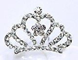 Cuhair(tm) 1pcs Crystal Rhinestone Silver Plated Crown Wedding Princess Kids Baby Girl Hair Clip Pin Claw Barrettes Comb Accessories
