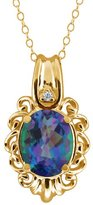 Gem Stone King 2.52 Ct Oval Millenium Blue Mystic Quartz and Diamond 18k Yellow Gold Pendant