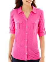 Liz Claiborne Elbow-Sleeve Roll-Tab Soft Shirt - Tall