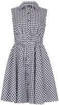 *Izabel London Navy Gingham Country Shirt Dress