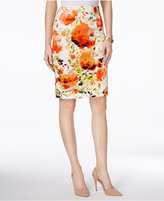 Kasper Floral-Print Scuba Pencil Skirt