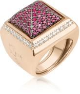 Ileana Creations Azhar Pink Cubic Zirconia Square Ring