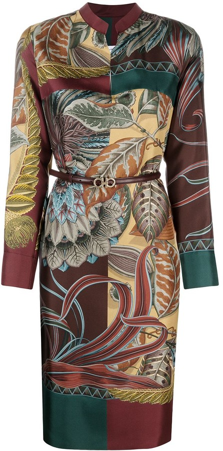Salvatore Ferragamo Gancini-buckle printed silk tunic
