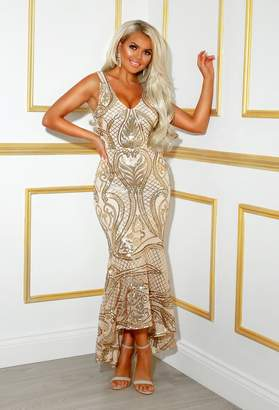 Pink Boutique Met Gala Glam Gold Sequin Waterfall Hem Maxi Dress
