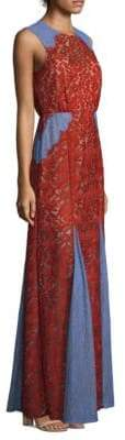 BCBGMAXAZRIA Marlyn Lace Colorblock Long Dress